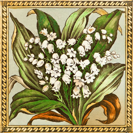 Genuine Victorian Arts & Crafts period tile design - lily of the valley