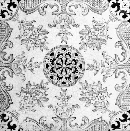 circa: Aesthetic style design from a genuine Victorian tile circa 1885 Stock Photo