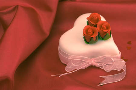 cross processed: Valentines cake with sugar roses, cross processed colours