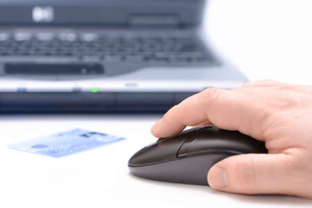 e auction: Person shopping online using computer and credit card