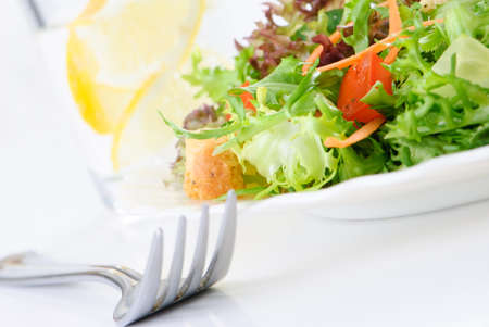 Simple green leaf salad on white plate photo