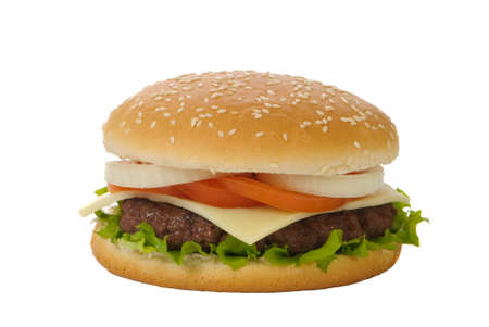 beefburger: Hamburger with cheese isolated on a white background Stock Photo