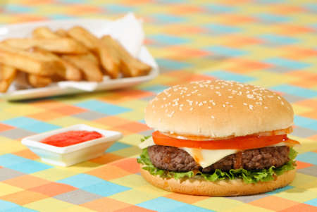 un healthy: Hamburger with fries and relish in American diner setting Stock Photo