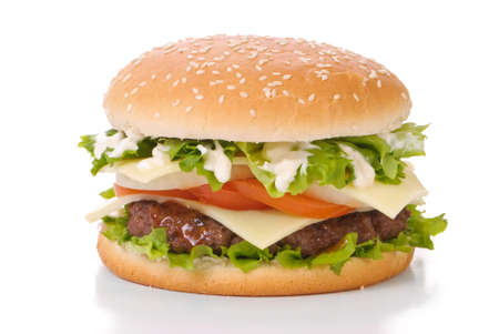 Hamburger in sesame seed bun with relish and mayonnaise on a white background Stock Photo