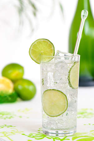 Gin and tonic with lime twist