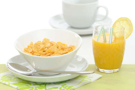 Healthy breakfast meal with cereal and orange juice photo