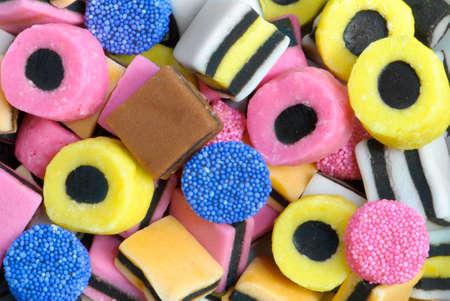 liquorice: Plan view of colourful liquorice sweets