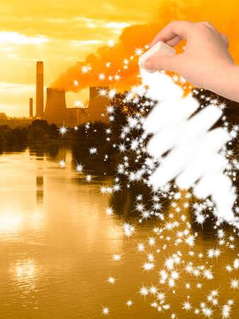 erasing: Concept image, tackling pollution, erasing Global Warming