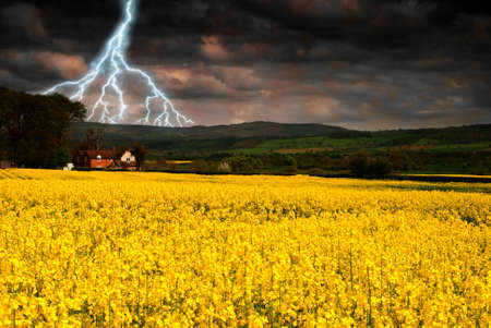 Lightning over a rural scene with rapeseed field