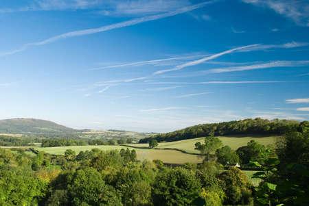 nestled: Rolling landscape in Shropshire, England UK Stock Photo