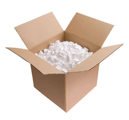 packaging move: Cardboard carton filled with polystyrene foam chips isolated on white background