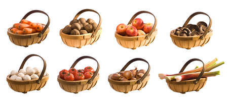 Selection of produce in trugs - isolated on white background for easy extraction - full size individual versions available in our portfolio photo