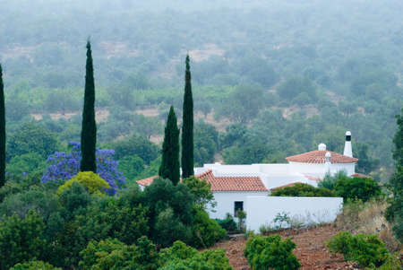 Early morning mist around a luxury Iberian villa Stock Photo - 5014366