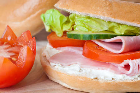 Close up of ham and cream cheese bagel with salad Stock Photo - 5033823