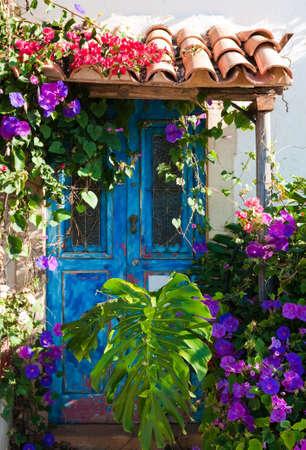 Rustieke charme van de oude deur begroeid met exotische planten en palmbladeren Stockfoto