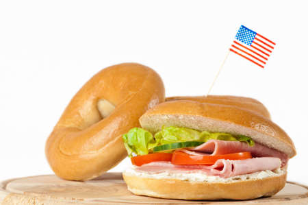New York bagels with American flag on white background Stock Photo - 5084503
