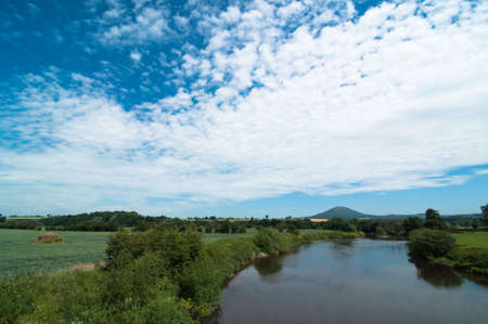 severn: River Severn at Cressage, UK with Wrekin hill in background Stock Photo