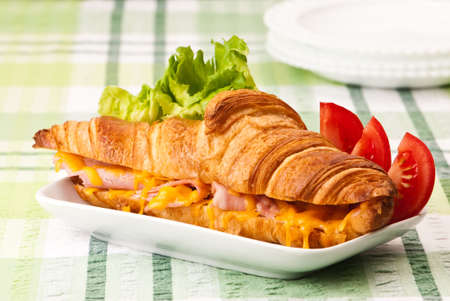 Melted cheese and ham croissant garnished with salad photo