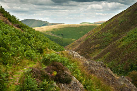 mill valley: Carding Mill Valley, part of the Long Mynd (Shropshire Hills) area of outstanding natural beauty Stock Photo