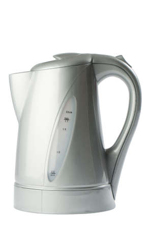 Modern silver colored kettle isolated on white background photo