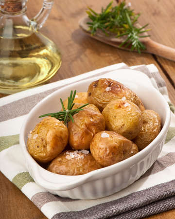 baked potato: Rustic potatoes with rosemary and olive oil