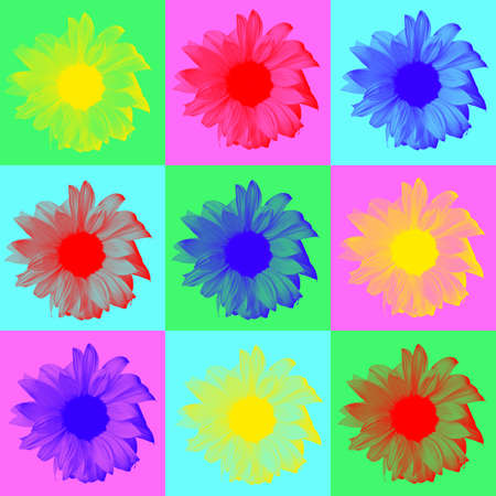 created: Pop art digitally created image of sunflowers on multi colored background Stock Photo