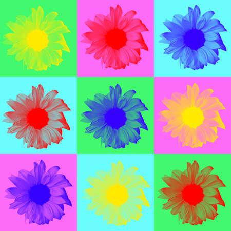 create: Pop art in digitale dell'immagine di girasoli su sfondo multicolore