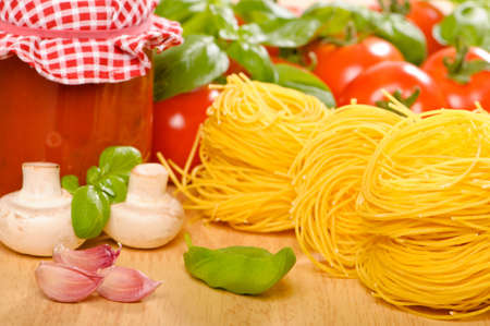 Ingredients for an Italian pasta meal photo