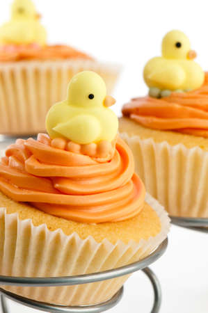 baby ducks: Cupcakes for a baby shower decorated with ducks Stock Photo