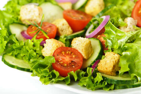 freshly prepared: Freshly prepared healthy salad with croutons