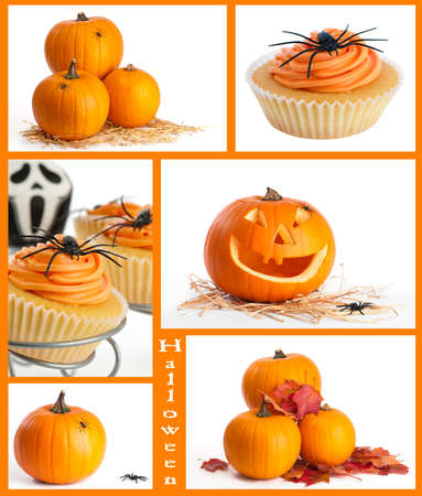 Halloween montage featuring pumpkins and festive food with spiders photo