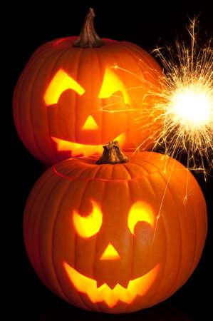 Lit Jack O Lanterns for Halloween with sparkler photo