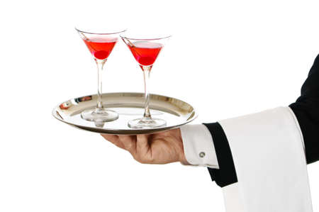 suit  cuff: Cocktail waiter carrying two cherry cocktails in glasses on silver tray