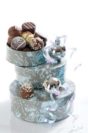 Luxury Christmas chocolates  with silver baubles and ribbon Stock Photo - 5767880
