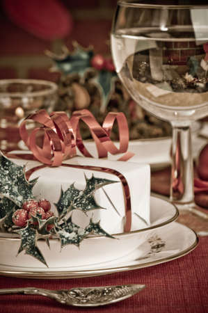 Cross processed Christmas table, 1950's retro look Stock Photo - 5806365