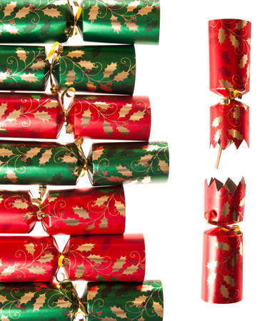 pulled: Row of Christmas crackers in with one pulled apart