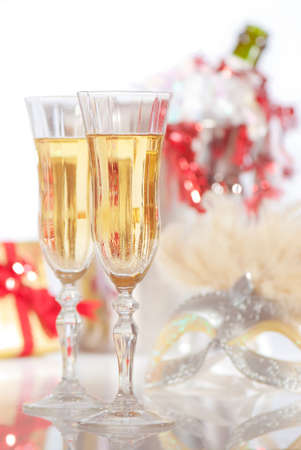 Party champagne with ice bucket in background and fancy dress mask Stock Photo - 6102507