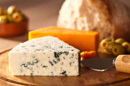 fayre: Rustic fayre with cheese and bread with olives Stock Photo