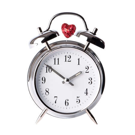 Valentines day clock on white background with red heart photo