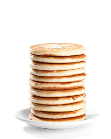 freshly prepared: Stack of freshly prepared pancakes on white background