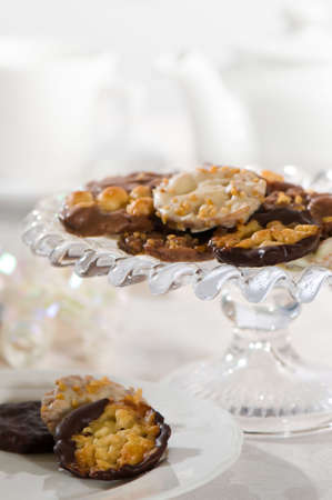 Afternoon tea with plate and comport of florentine biscuits  photo