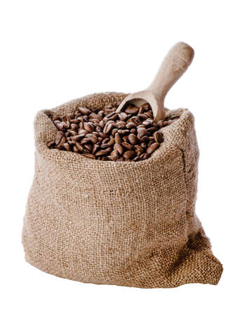 sack: Burlap hessian sack of roasted coffee beans with wooden scoop isolated on white background