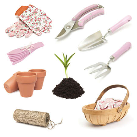 implements: Various gardening implement for spring planting on white background