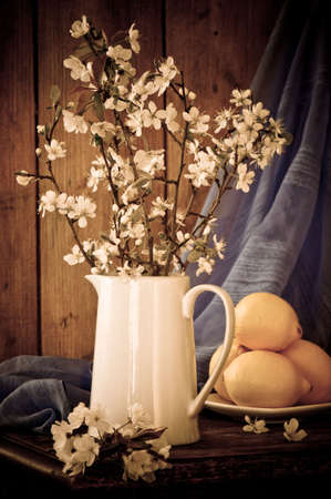 Still life apple blossom with lemon fruits and flowing material in background photo