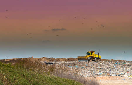 Working landfill site in the countryside