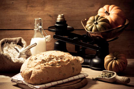 country kitchen: Freshly baked pumpkin seed bread in farmhouse setting