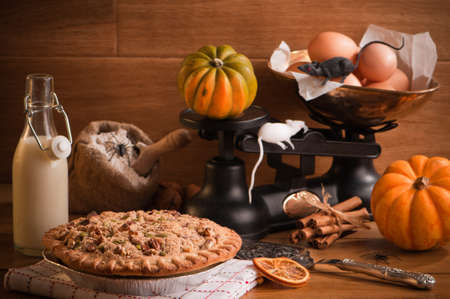 Halloween pumpkin pie with spiders and mice in rustic setting photo