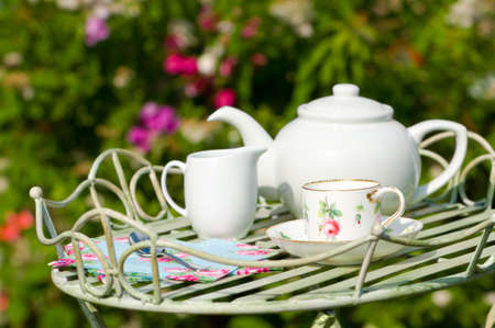 Garden tea party with pretty cup and saucer on butlers tray photo