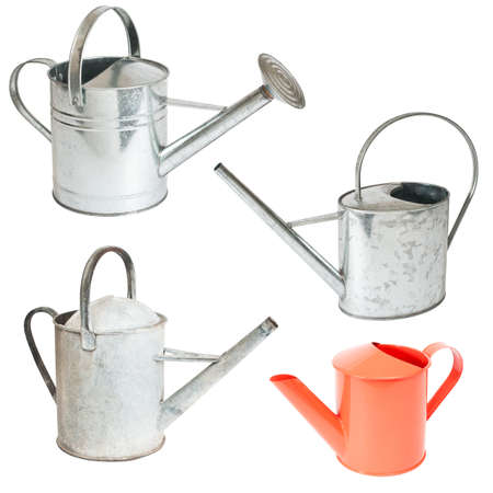 watering garden: Watering can collection isolated on white background