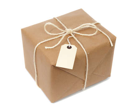 labelled: Parcel wrapped with brown paper, tied with string and with blank label